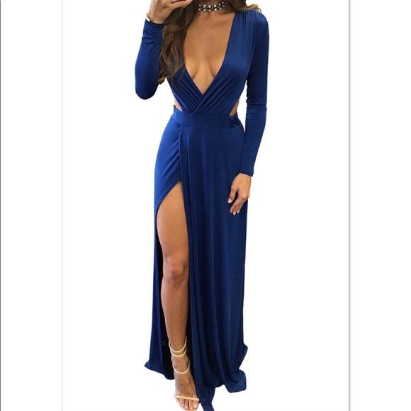 Dresses | Long Sleeve Blue Maxi Dress | Poshmark